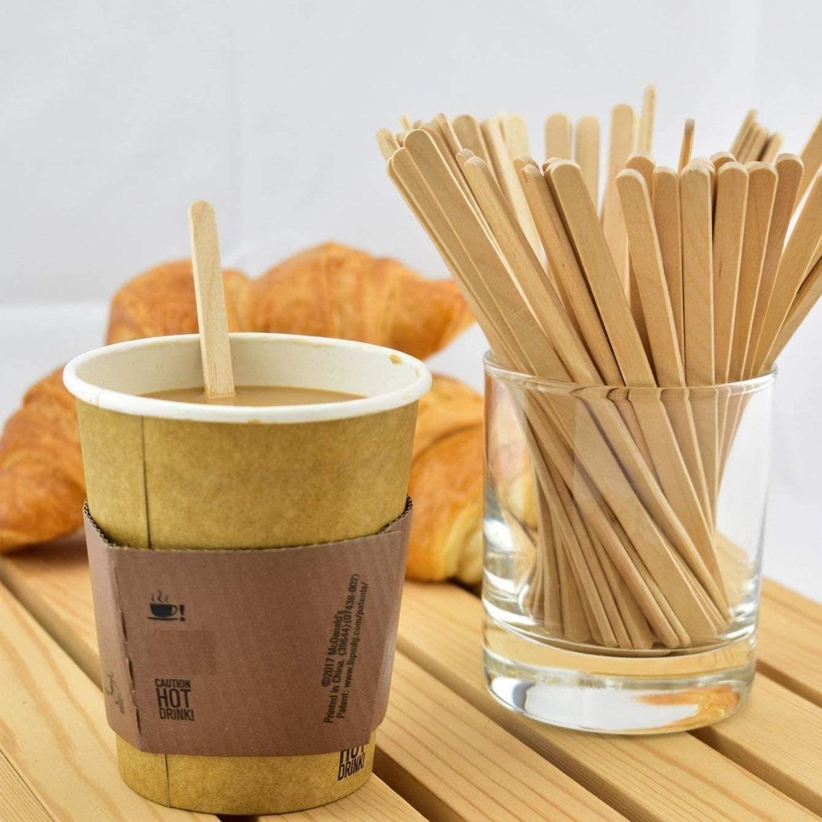 100шт Палка деревянный кофейный перемешивание