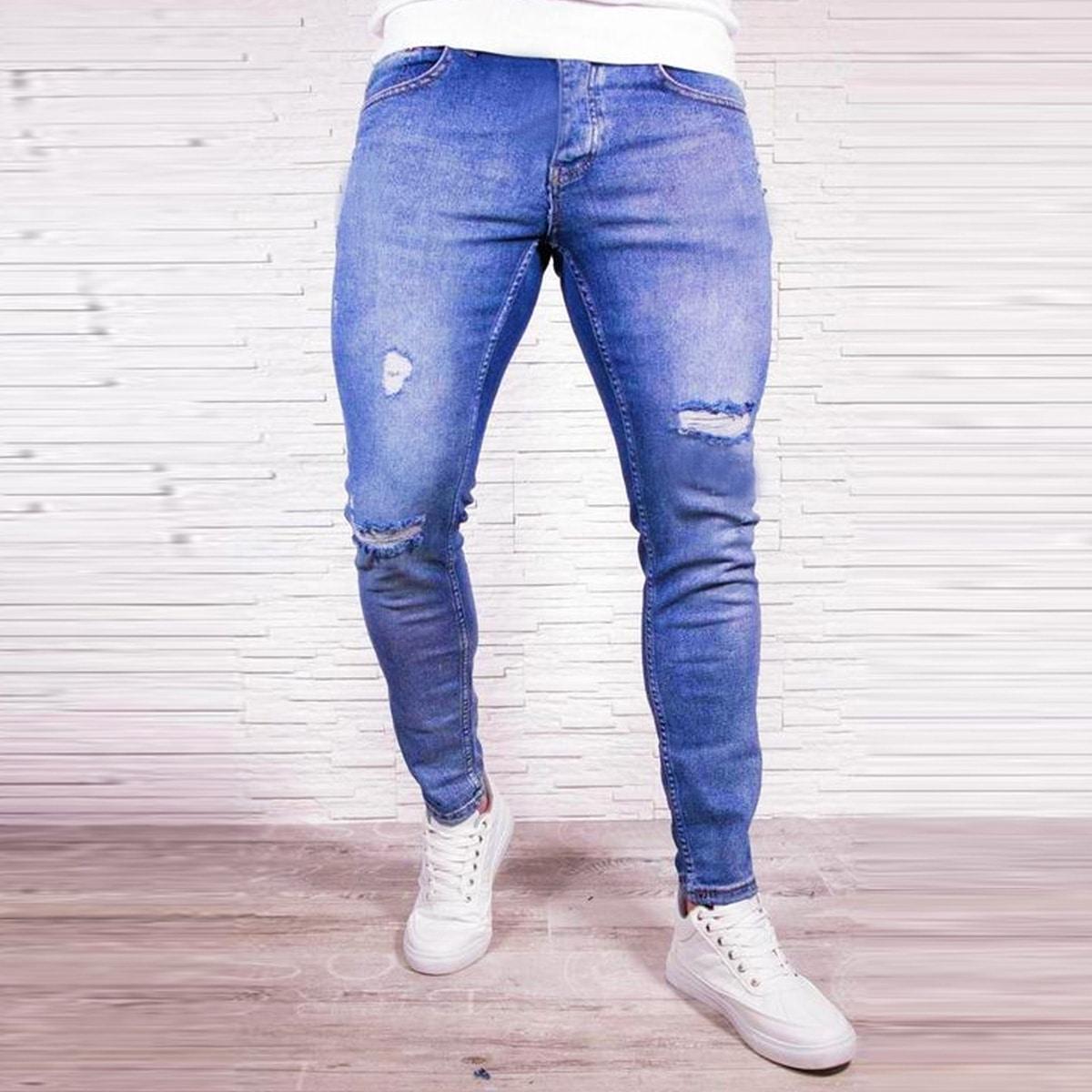 Рваные джинсы-скинни для мужчины