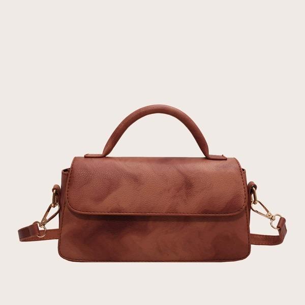 Minimalist Flap Satchel Bag, Rust brown