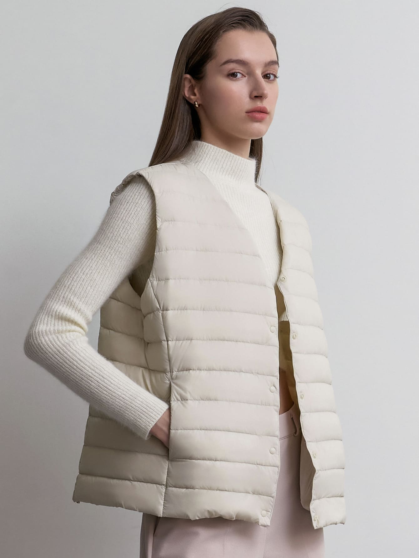 Button Front Quilted Down Coat Vest