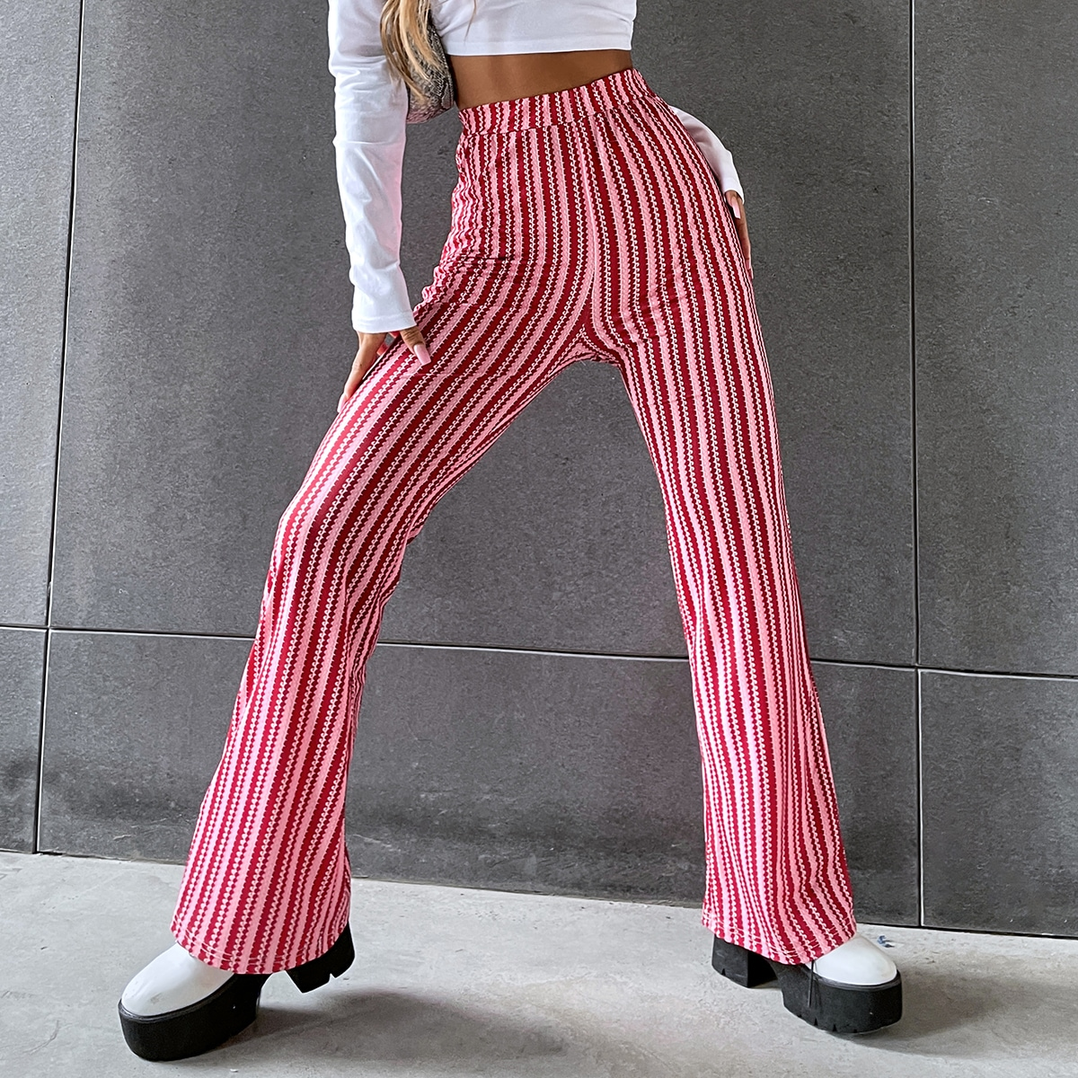 High Waist Striped Flare Leg Pants, SHEIN  - buy with discount