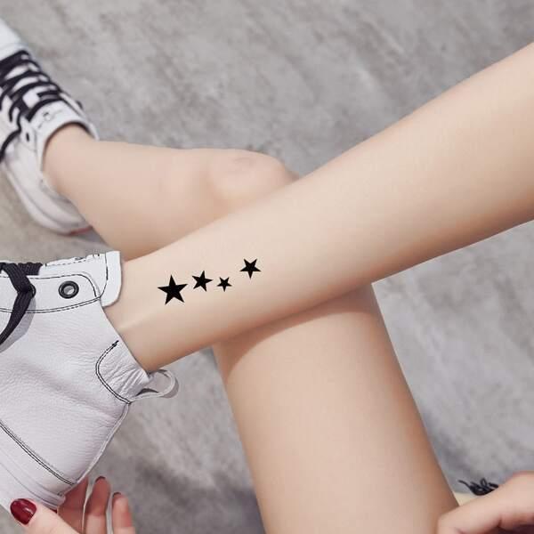 1sheet Star Pattern Tattoo Sticker, Black