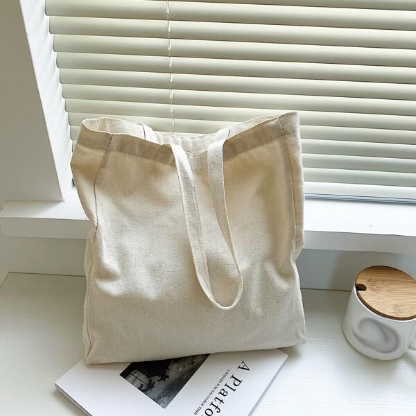 Minimalist Canvas Shopper Bag, Beige