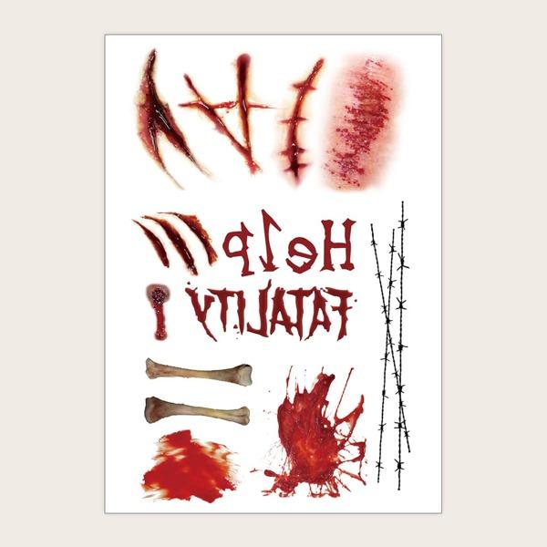1sheet Halloween Wound Pattern Tattoo Sticker, Red