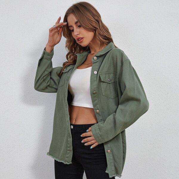 Flap Pocket Button Front Denim Jacket, Army green