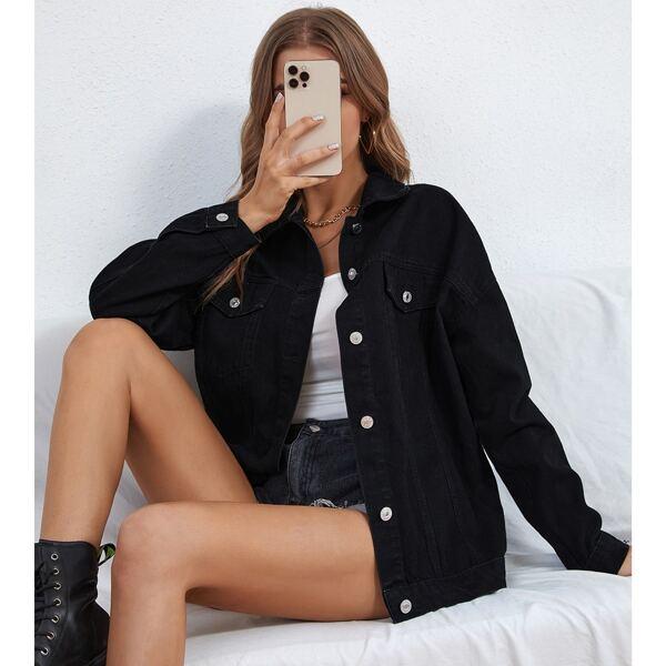 Flap Pocket Drop Shoulder Denim Jacket, Black
