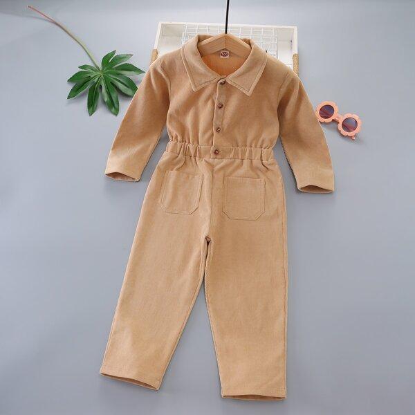 Toddler Boys Patched Pocket Corduroy Shirt Jumpsuit, Khaki