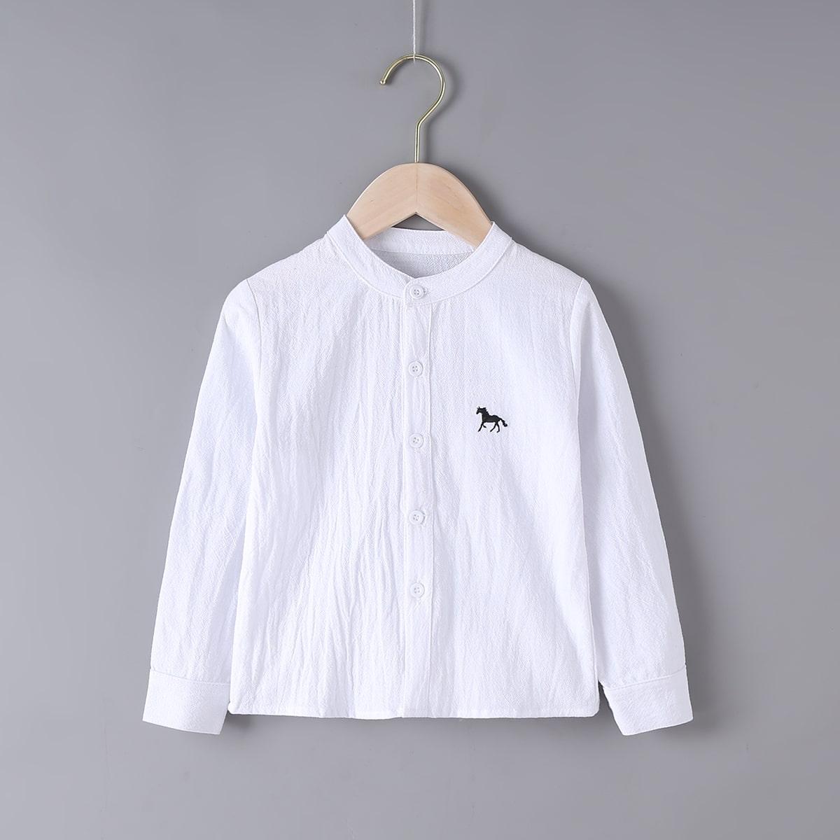для мальчиков Рубашка с вышивкой лошади