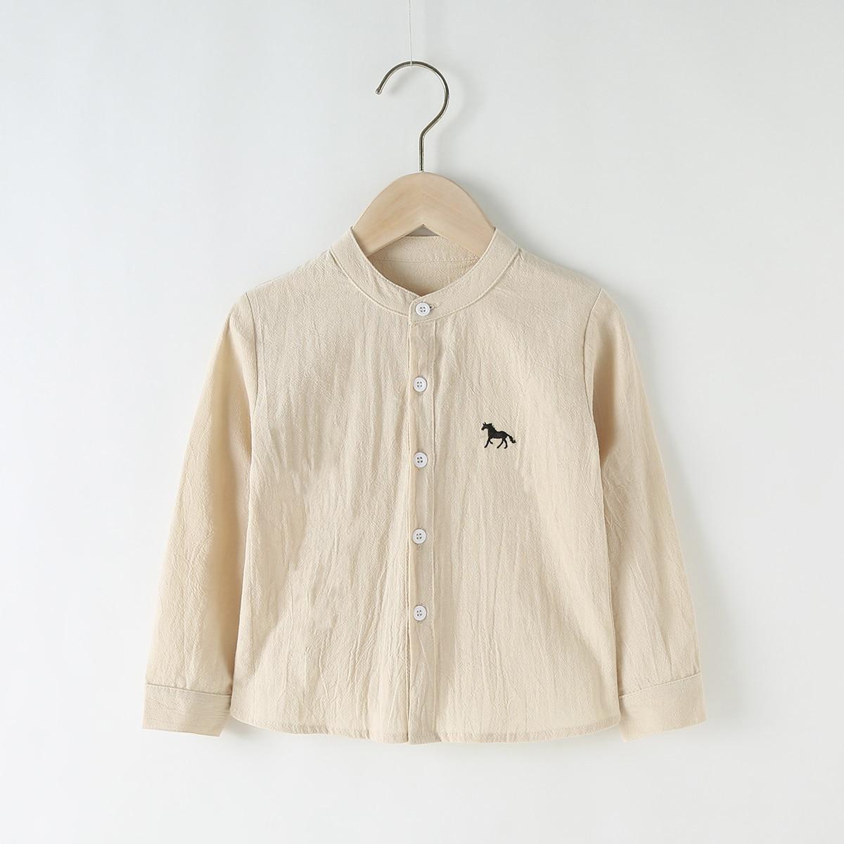 с вышивкой Пуговица Животный Повседневный Рубашки для мальчиков