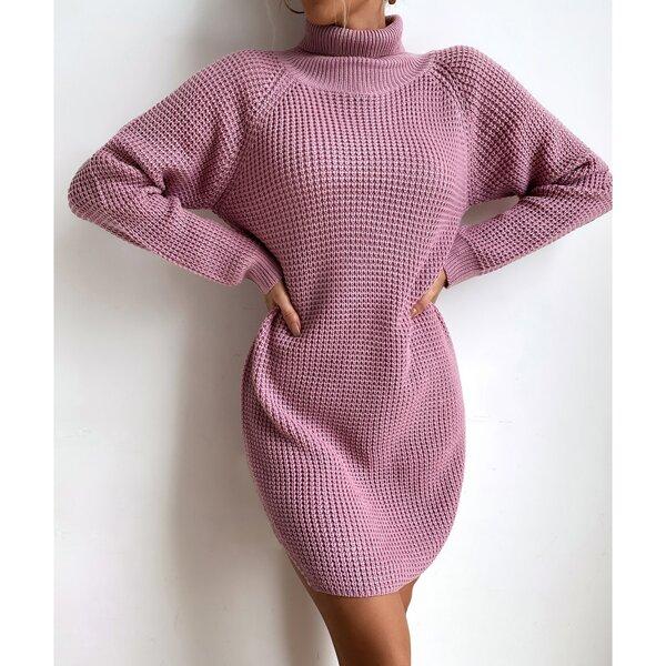 Turtle Neck Raglan Sleeve Slit Hem Sweater Dress Without Belt, Mauve purple