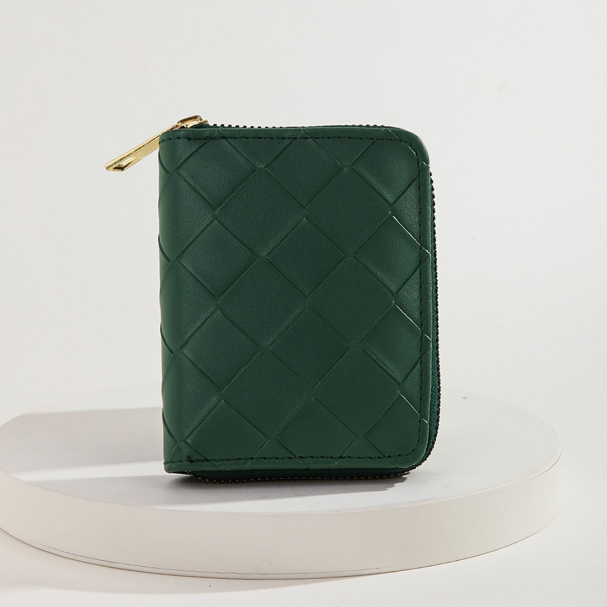 Braided Detail Zip Small Wallet
