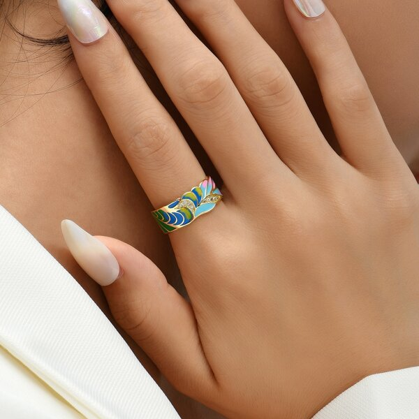 18K Gold Plated Zircon Leaf Detail Cuff Ring, Multicolor