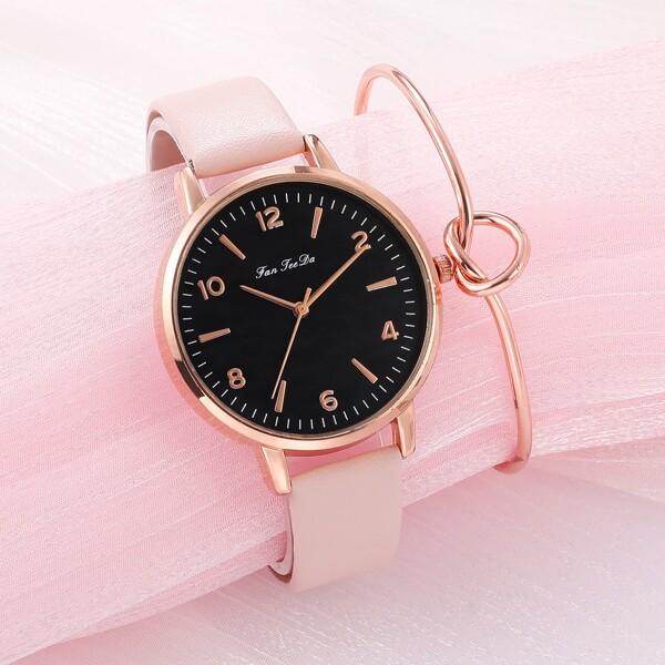 1pc Minimalist Round Pointer Quartz Watch & 1pc Bracelet