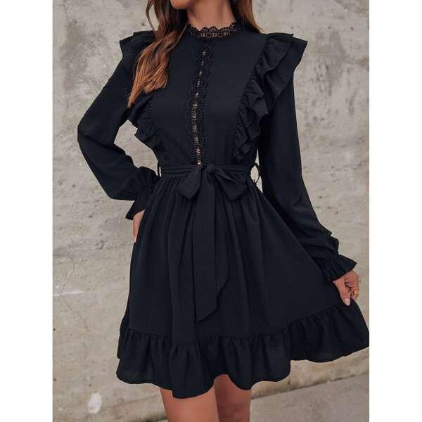 Guipure Lace Detail Flounce Sleeve Ruffle Trim Belted Dress, Black