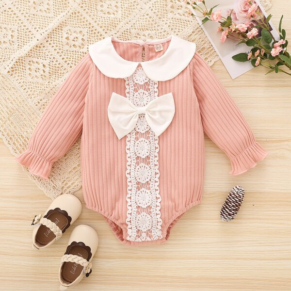 Baby Girl Lace Detail Bow Front Peter Pan Collar Bodysuit, Dusty pink