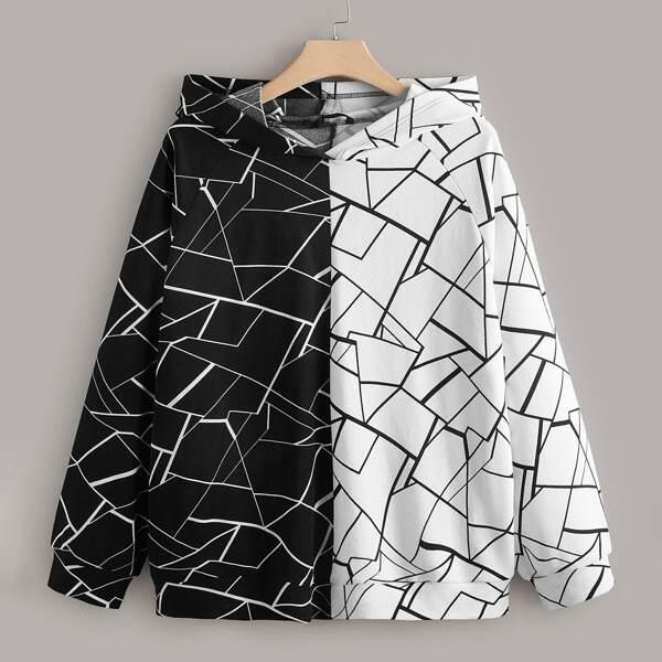 Plus Allover Geo Print Raglan Sleeve Two Tone Hoodie, Black and white