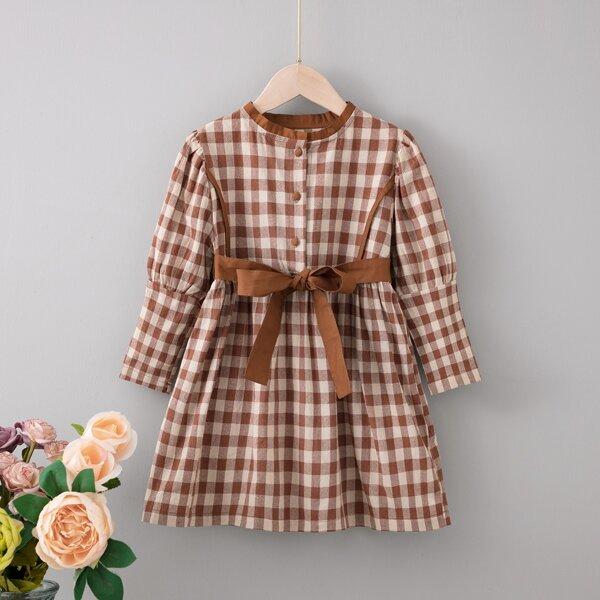 Toddler Girls Gingham Gigot Sleeve Single Breasted Belted Dress, Multicolor