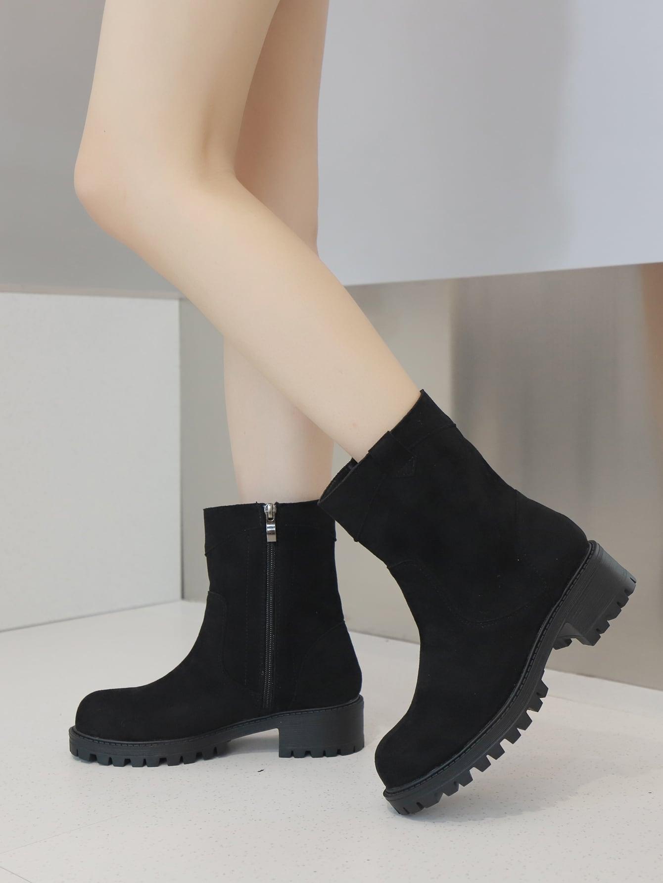 Suede Side Zipper Boots