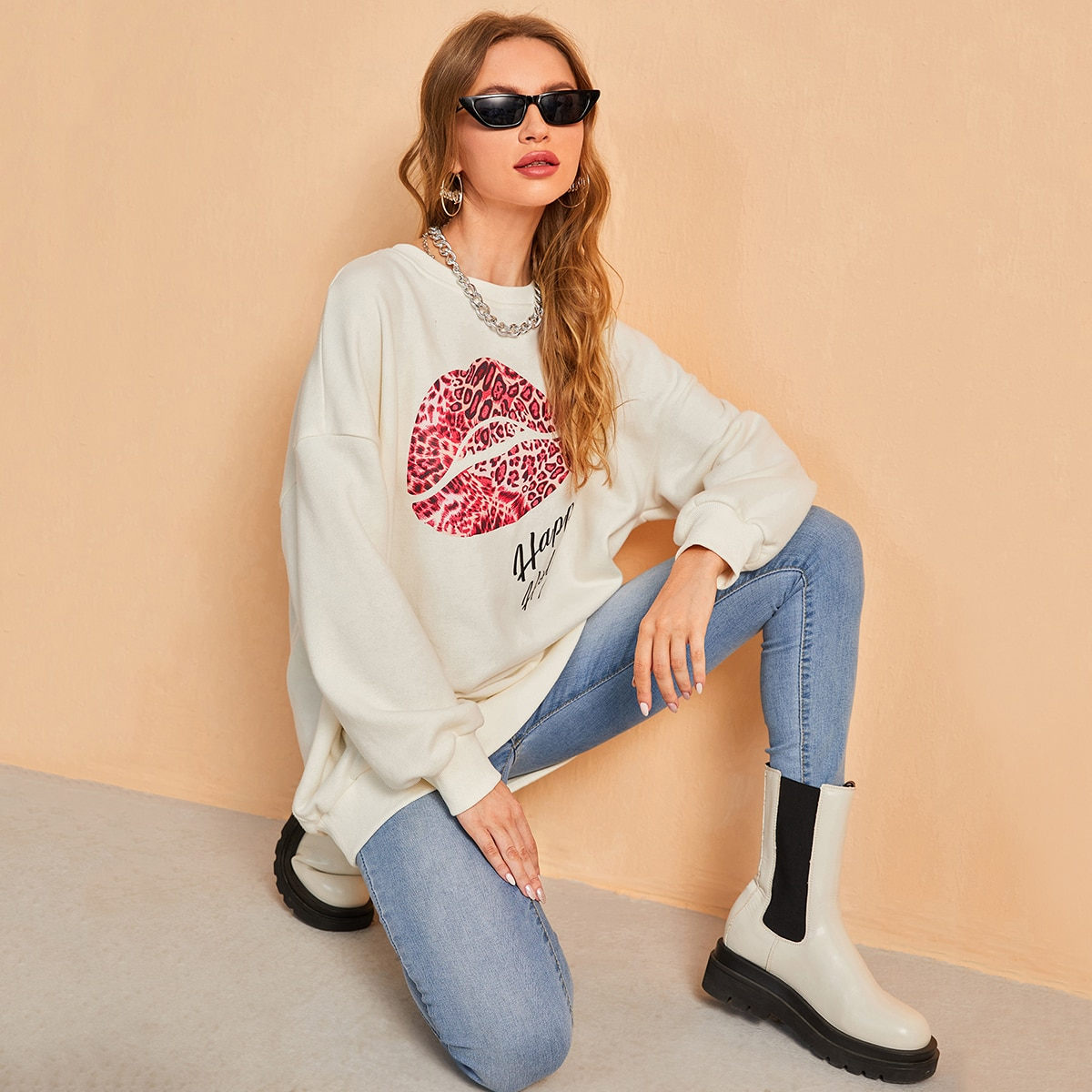 Lip & Letter Graphic Drop Shoulder Sweatshirt, SHEIN  - buy with discount