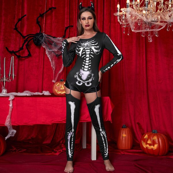 Skeleton Print Halloween Costume Bodysuit, Black and white