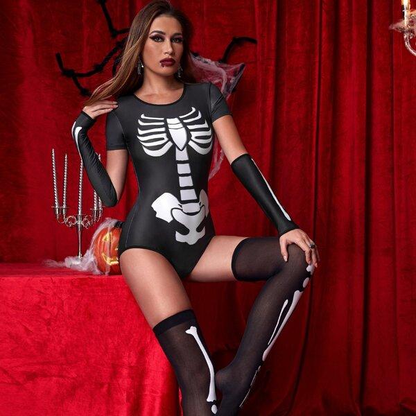 Skeleton Print Halloween Costume Bodysuit With Stockings, Black and white