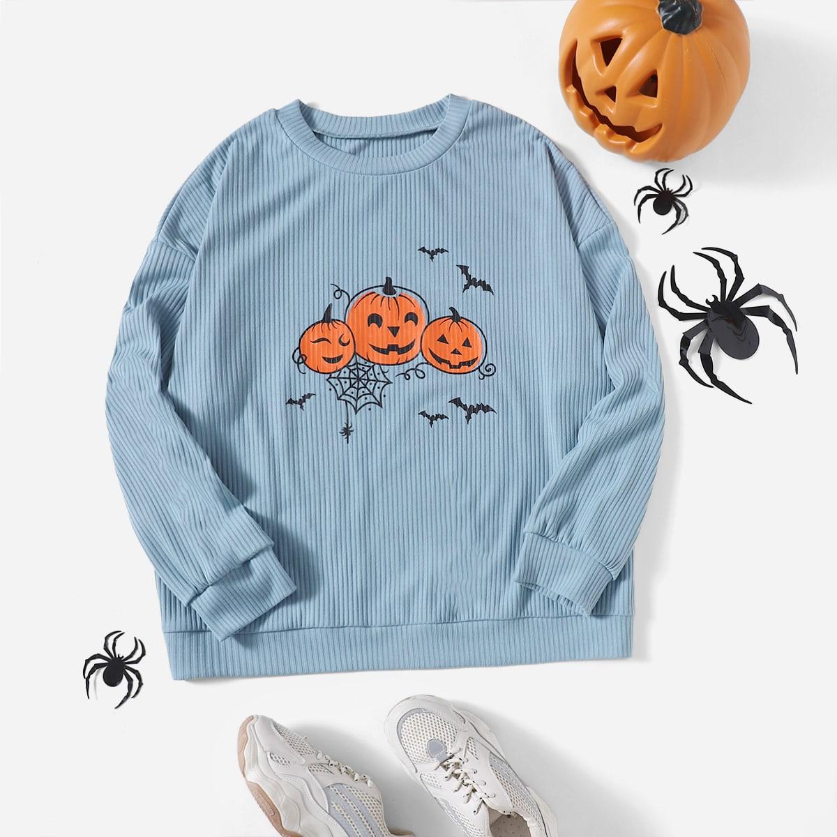трикотажный Животный Хэллоуин Повседневный Свитшоты размер плюс