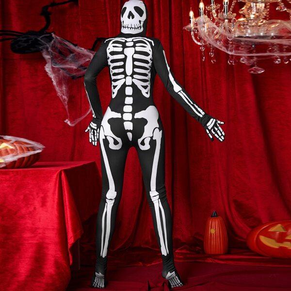 Skeleton Print Halloween Costume Jumpsuit, Black and white