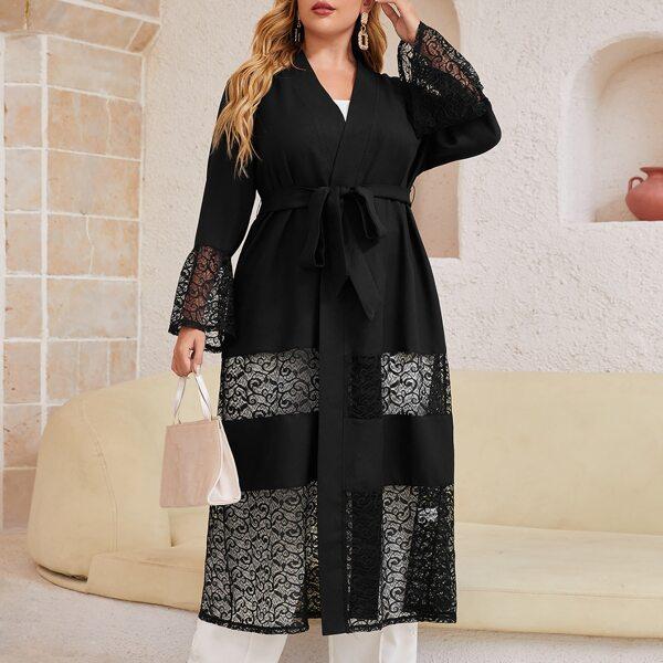 Plus Lace Panel Flounce Sleeve Belted Abaya, Black