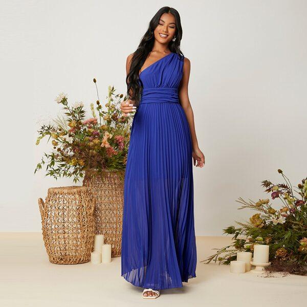 One Shoulder Ruched Pleated Hem Dress, Royal blue