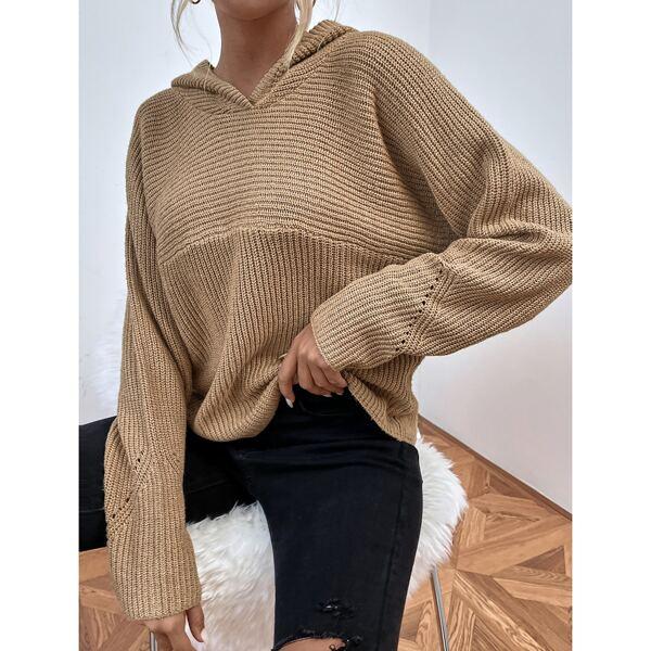 Ribbed Knit Hooded Raglan Sleeve Sweater, Camel
