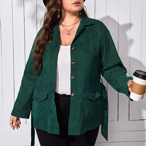 Plus Flap Pocket Belted Corduroy Coat, Dark green