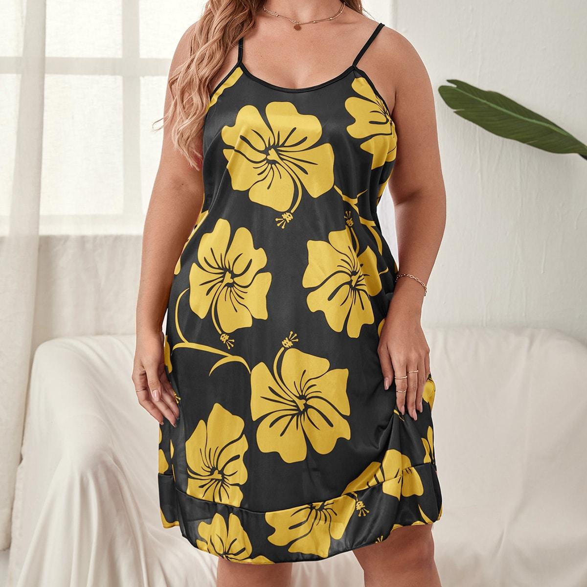размера плюс Ночная рубашка на бретельках с цветочным принтом с оборками