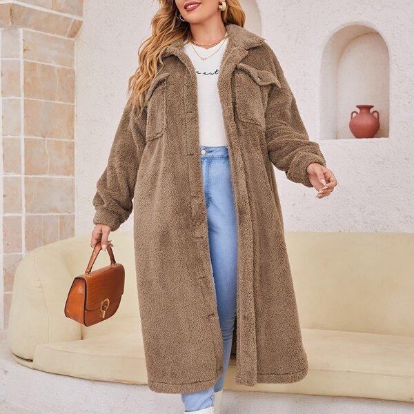 Plus Flap Pocket Drop Shoulder Flannel Coat, Mocha brown