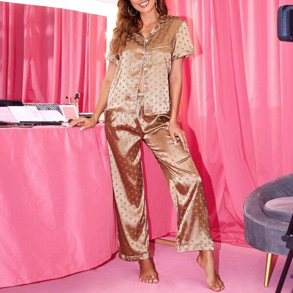 Polka Dot Print Contrast Piping Satin Blouse & Pants PJ Set, Champagne