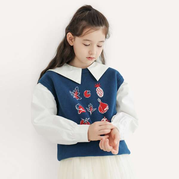 Girls Fruit And Leaf Pattern Sweater Vest Without Blouse, Dusty blue
