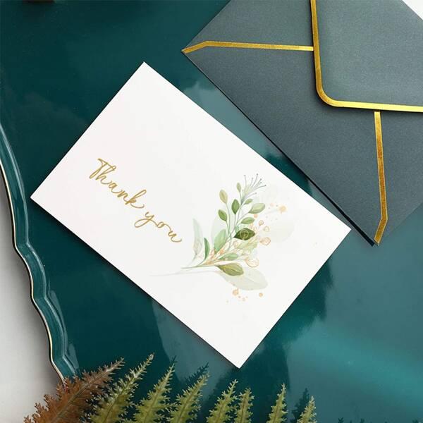 6pcs Leaf Print Invitation, Multicolor
