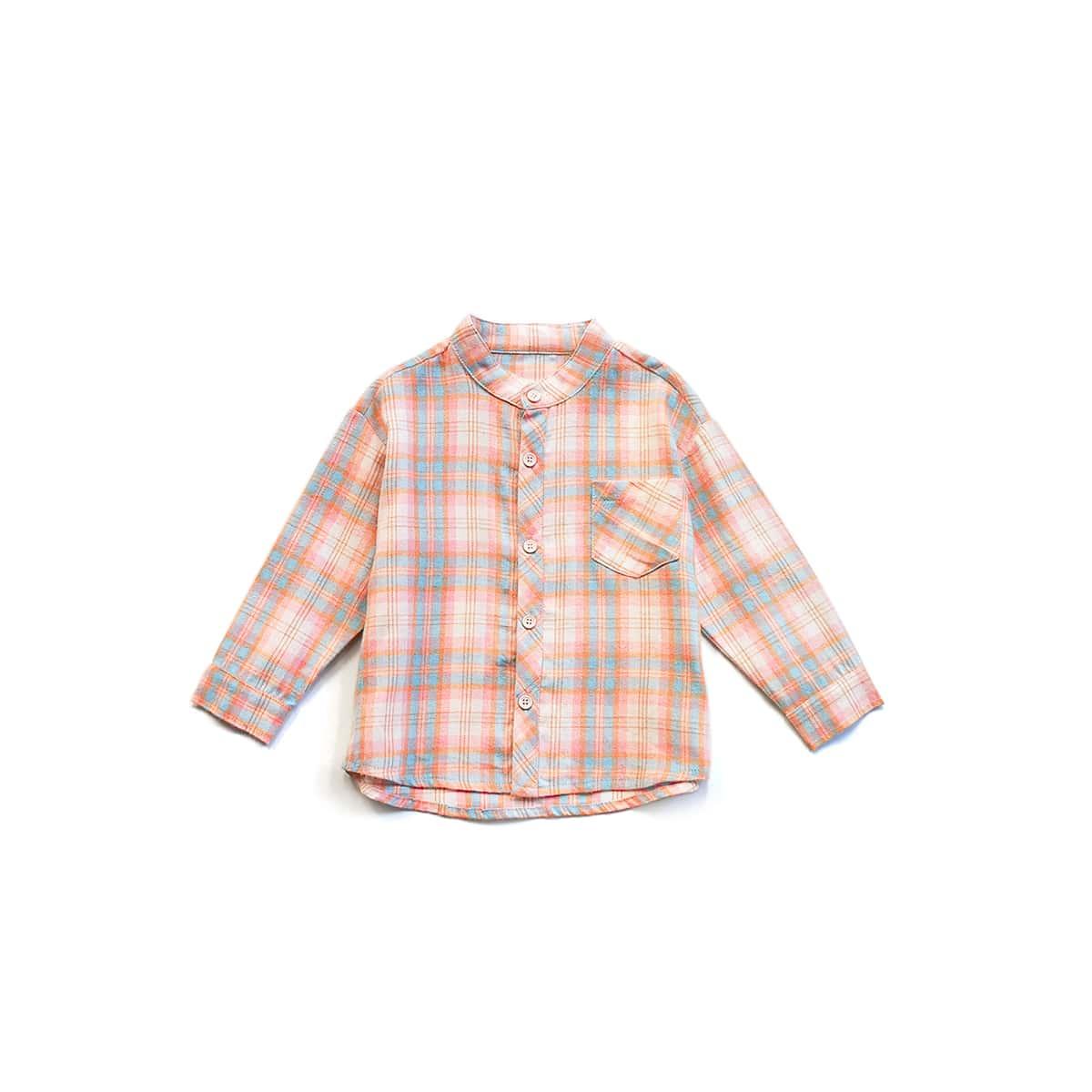 на пуговицах с карманами Пуговица в клетку Повседневный Рубашки для мальчиков