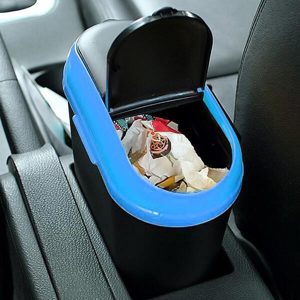 1pc Mini Car Trash Can, Black