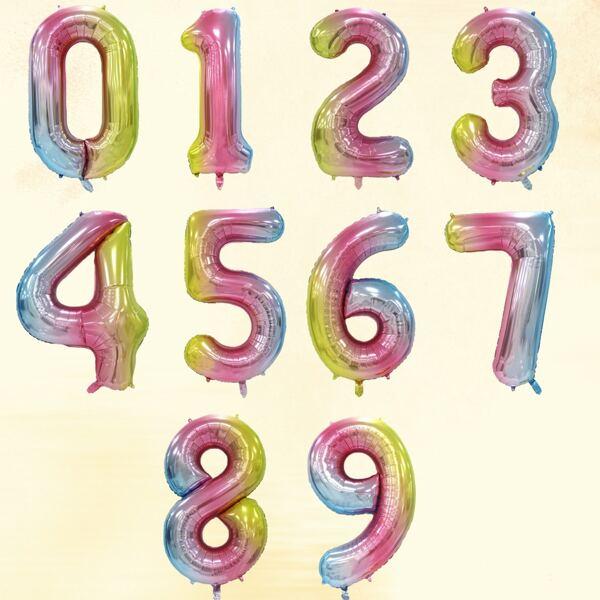 1pc Gradient Color Number Balloon, Multicolor