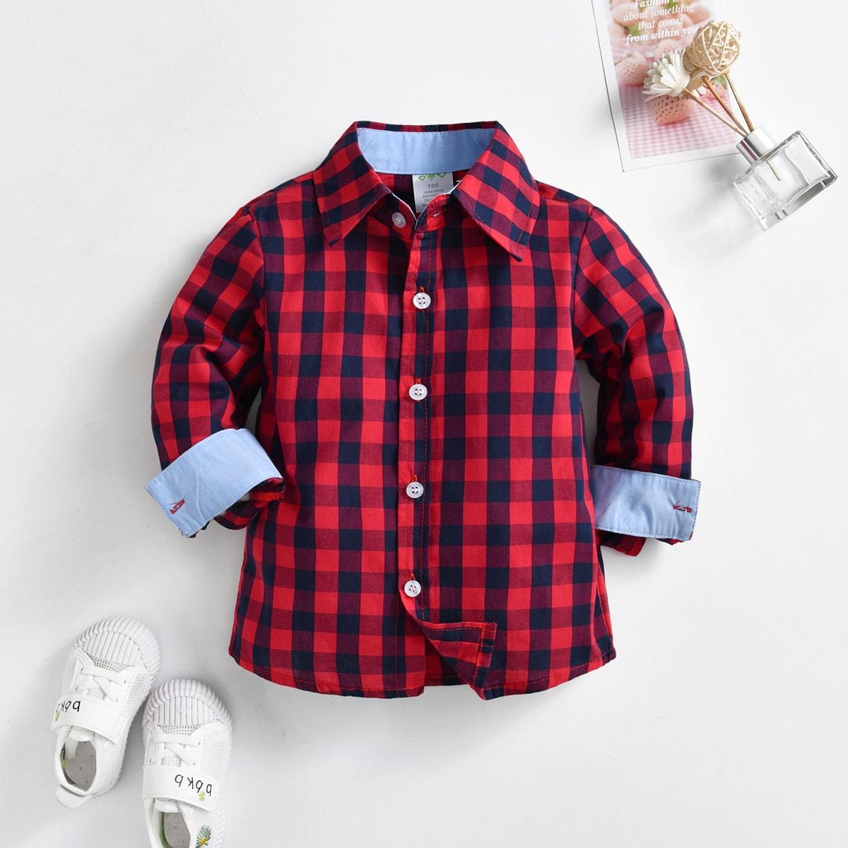 Рубашка в клетку на пуговицах для мальчиков