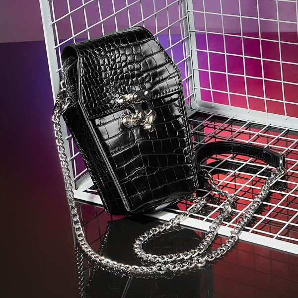 Croc Embossed Flap Chain Crossbody Bag, Black