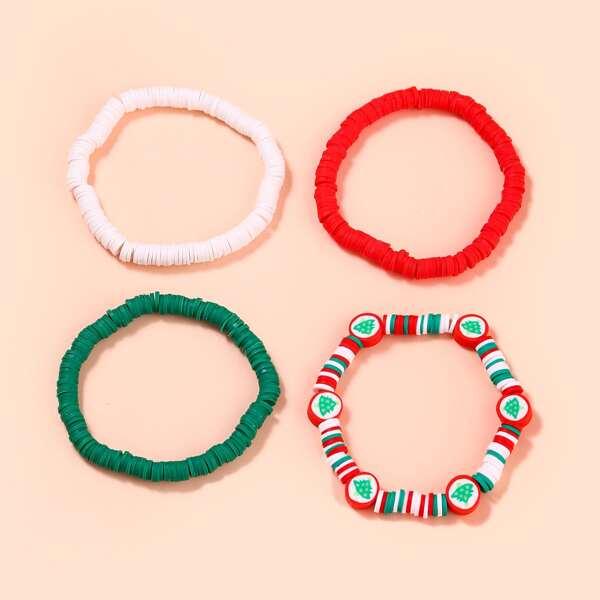 4pcs Christmas Tree Pattern Beaded Bracelet, Multicolor