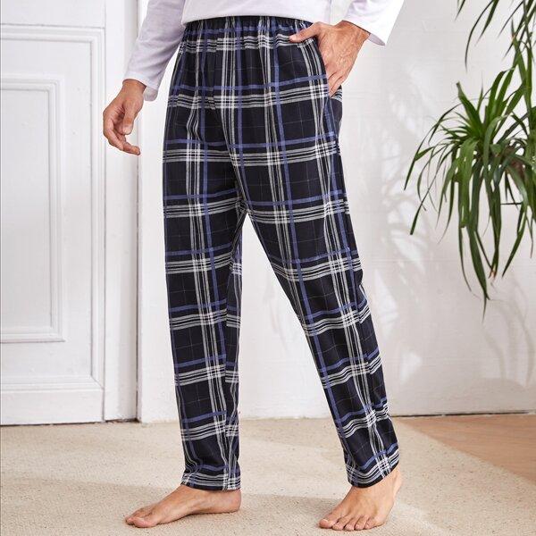 Men Plaid Print Pajama Pants, Multicolor