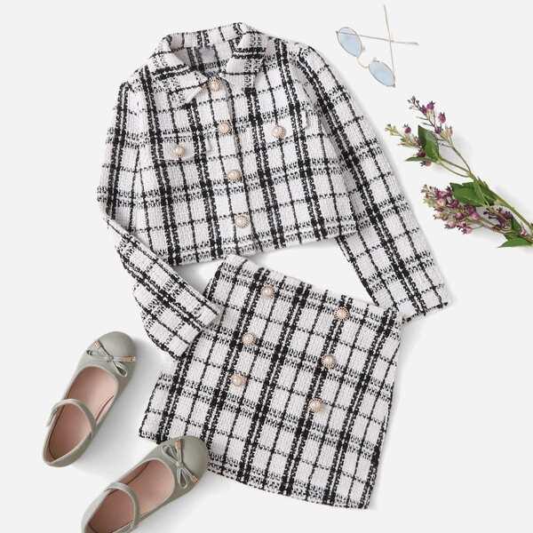 Girls Buttoned Plaid Tweed Jacket & Skirt, Black
