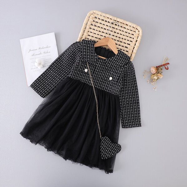 Girls Plaid Pattern Peter-pan Collar Mesh Hem Tweed Dress & Bag, Black and white