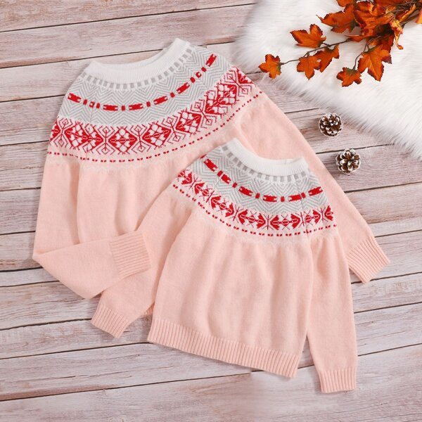 Girls 1pc Geo Pattern Raglan Sleeve Sweater, Baby pink