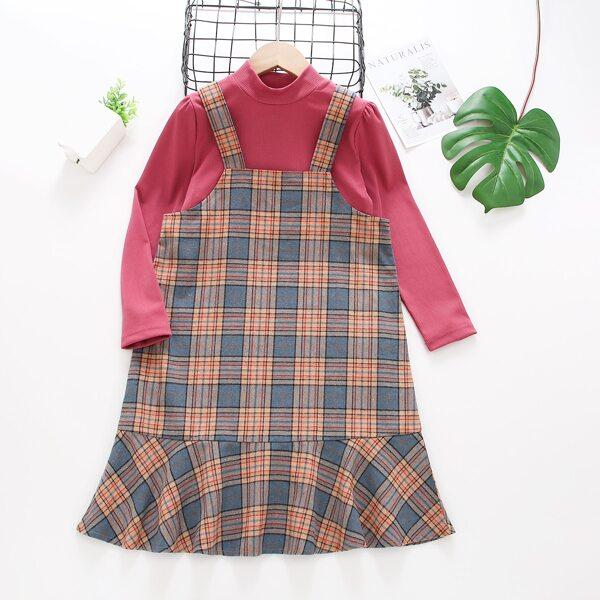 Girls Mock Neck Tee & Plaid Ruffle Hem Pinafore Dress, Multicolor