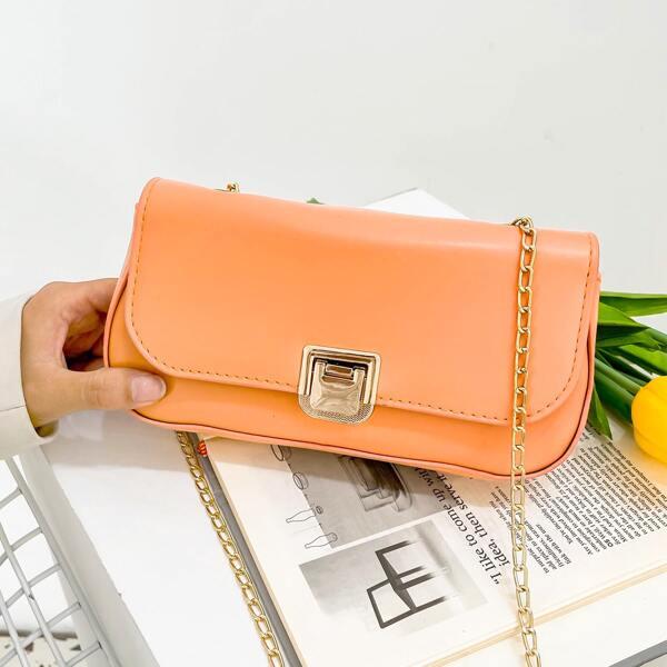 Minimalist Flap Shoulder Chain Bag, Orange