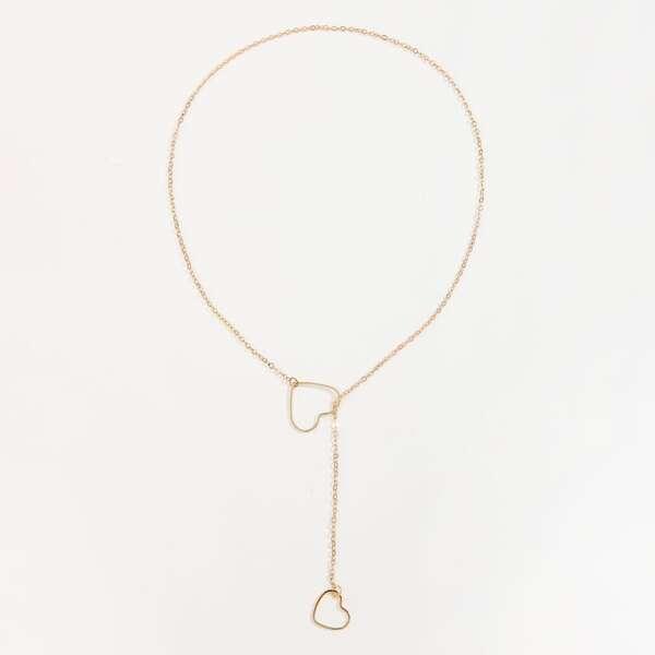 Heart Decor Y Lariat Necklace, Gold