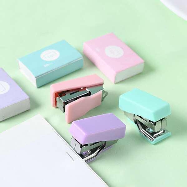 2pcs Random Color Mini Stapler & Staples, Multicolor